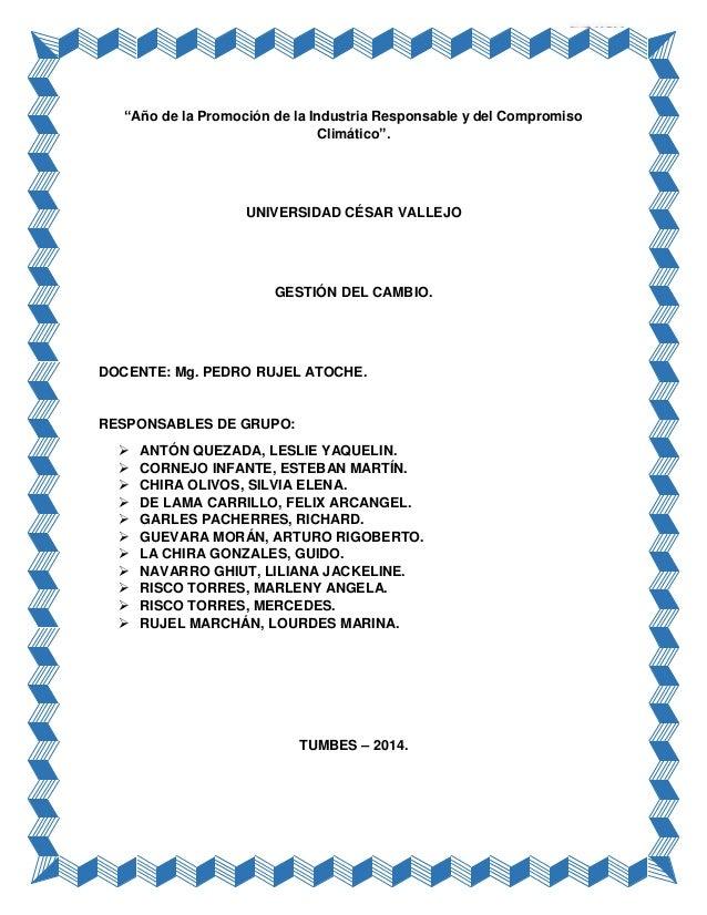 """GESTIÓN DEL CAMBIO DIPLOMADO: GESTIÓN DE LOS APRENDIZAJES. """"Año de la Promoción de la Industria Responsable y del Compromi..."""