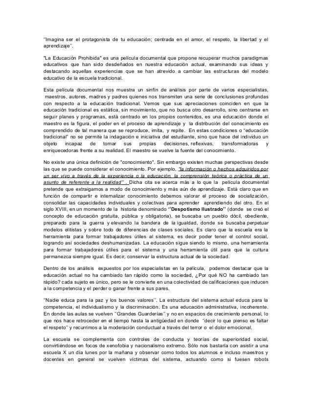 La Educación Prohibida (Análisis Documental)