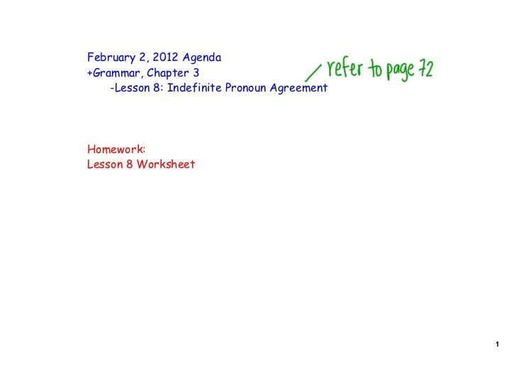 February 2, 2012 Agenda+Grammar, Chapter 3    -Lesson 8: Indefinite Pronoun AgreementHomework:Lesson 8 Worksheet          ...