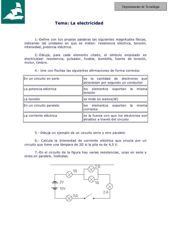 Departamento de Tecnológia                    Tema: La electricidad       1.-Define con tus propias palabras las siguiente...