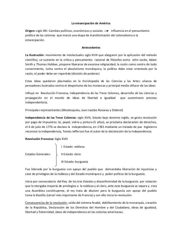 La emancipación de AméricaOrigen: siglo XXI: Cambios políticos, económicos y sociales    influencia en el pensamientopolít...