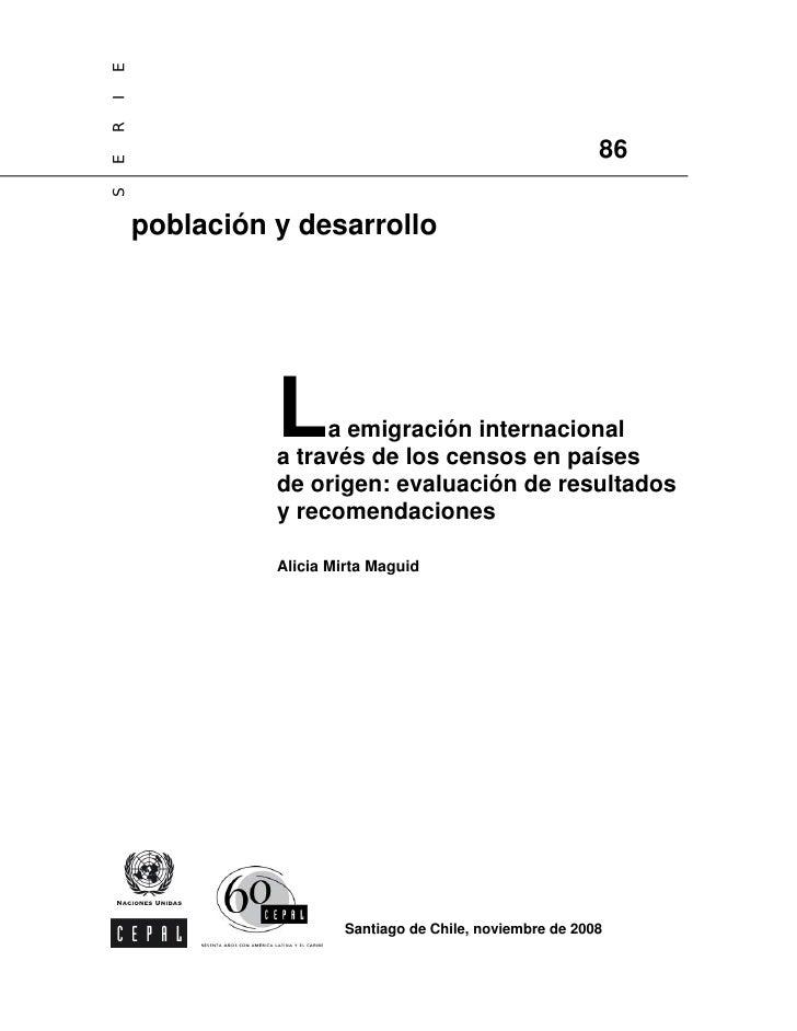 La Emigracion Internacional A Traves De Los Censos