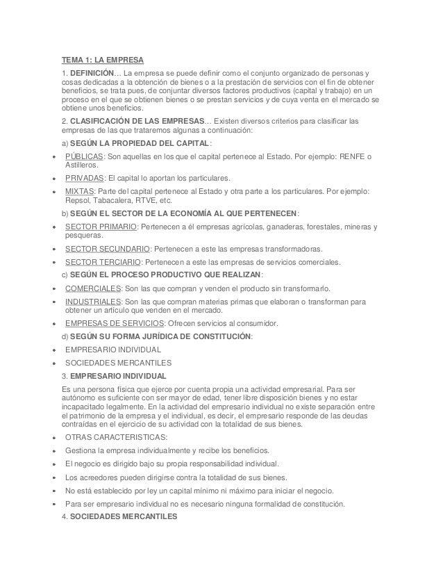 TEMA 1: LA EMPRESA1. DEFINICIÓN… La empresa se puede definir como el conjunto organizado de personas ycosas dedicadas a la...