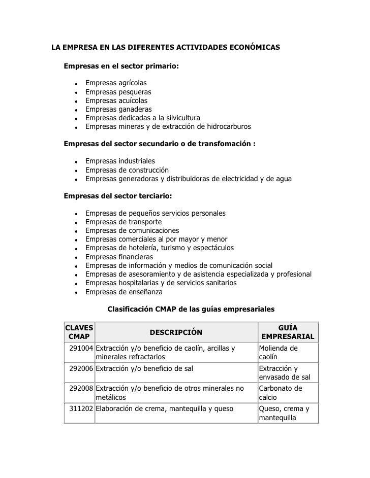 LA EMPRESA EN LAS DIFERENTES ACTIVIDADES ECONÓMICAS <br /> Empresas en el sector primario: Empresas agrícolas Empresas pe...