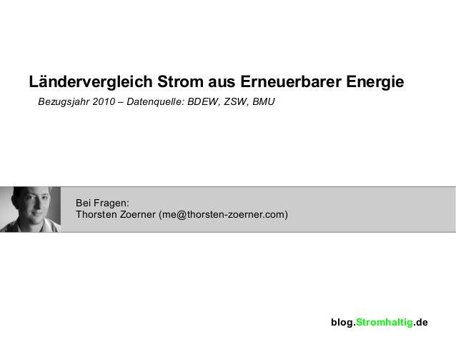Ländervergleich Strom aus Erneuerbarer Energie Bezugsjahr 2010 – Datenquelle: BDEW, ZSW, BMU        Bei Fragen:        Tho...