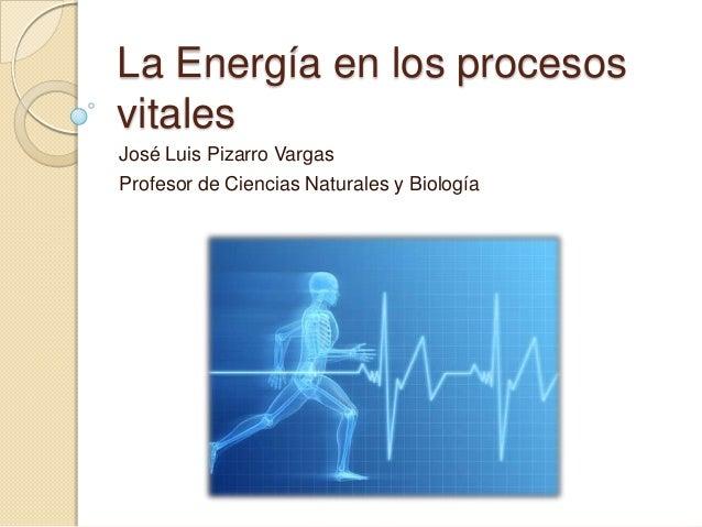 La Energía en los procesosvitalesJosé Luis Pizarro VargasProfesor de Ciencias Naturales y Biología