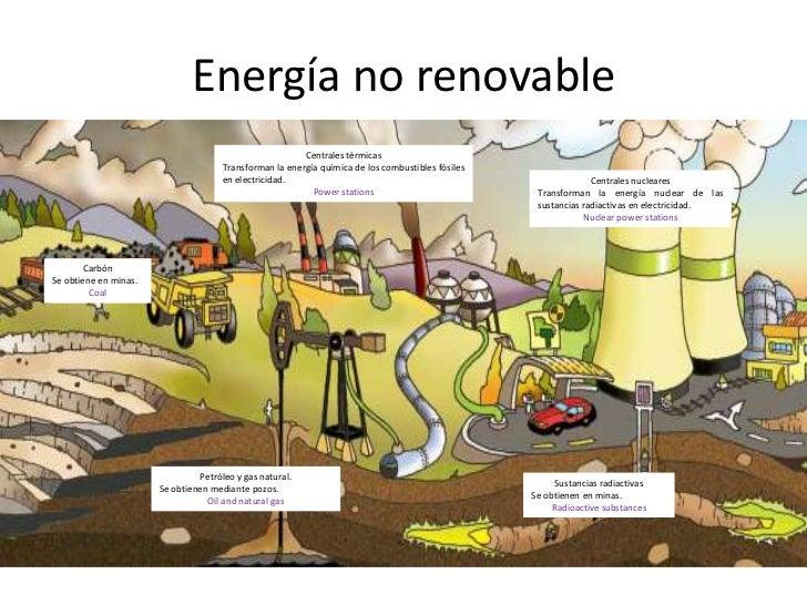 Energía no renovable<br />Centrales térmicas<br />Transforman la energía química de los combustibles fósiles en electricid...