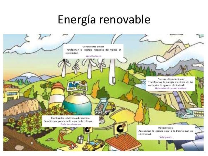 Energía renovable<br />Generadores eólicos<br />Transforman la energía mecánica del viento en electricidad.<br />Wind turb...
