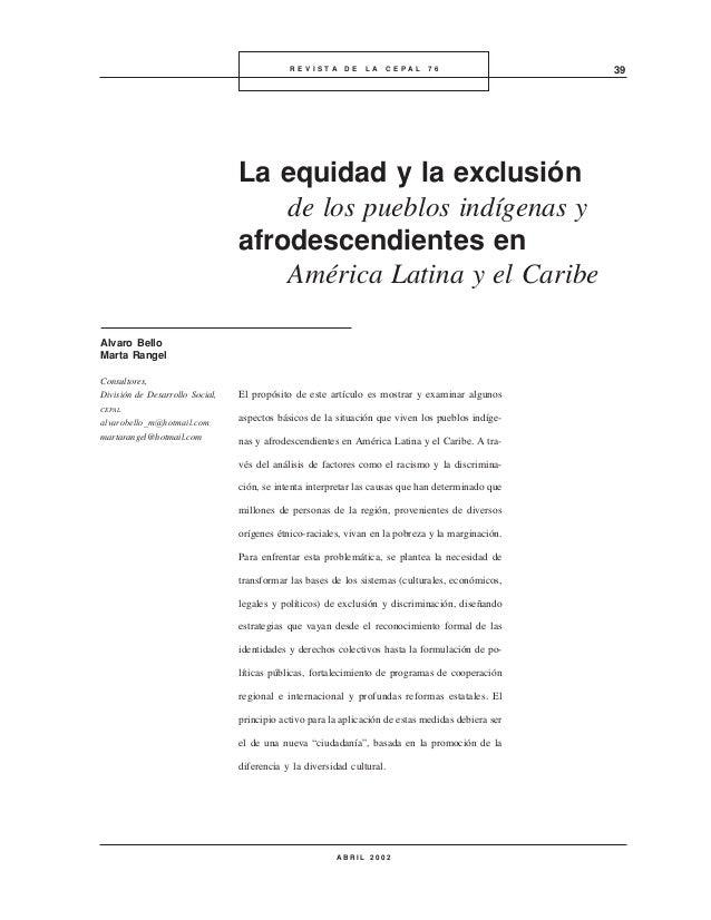 La equidad y la exclusion de los pueblos indigenas y afrodescendientes en america latina   cepal