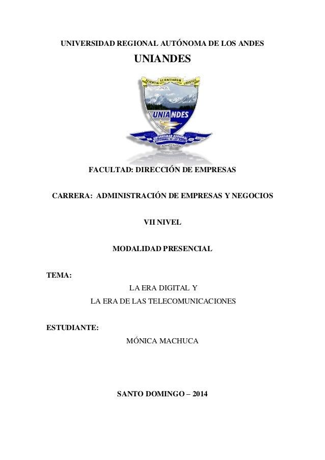 UNIVERSIDAD REGIONAL AUTÓNOMA DE LOS ANDES UNIANDES FACULTAD: DIRECCIÓN DE EMPRESAS CARRERA: ADMINISTRACIÓN DE EMPRESAS Y ...