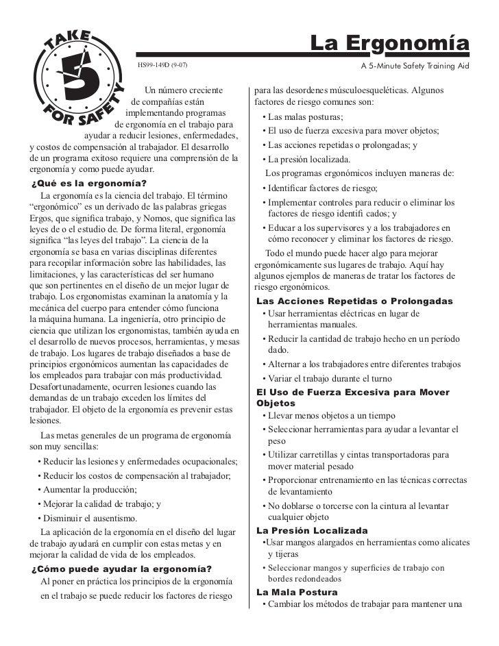 La Ergonomía                               HS99-149D (9-07)                                          A 5-Minute Safety Tra...