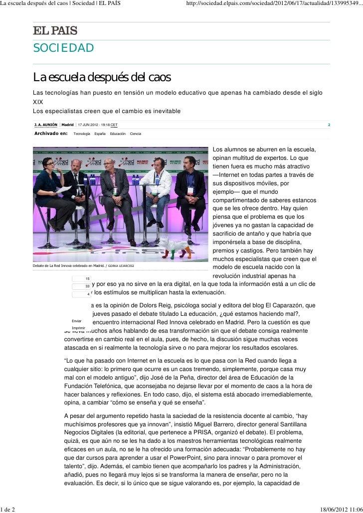 La escuela después del caos | Sociedad | EL PAÍS                                 http://sociedad.elpais.com/sociedad/2012/...