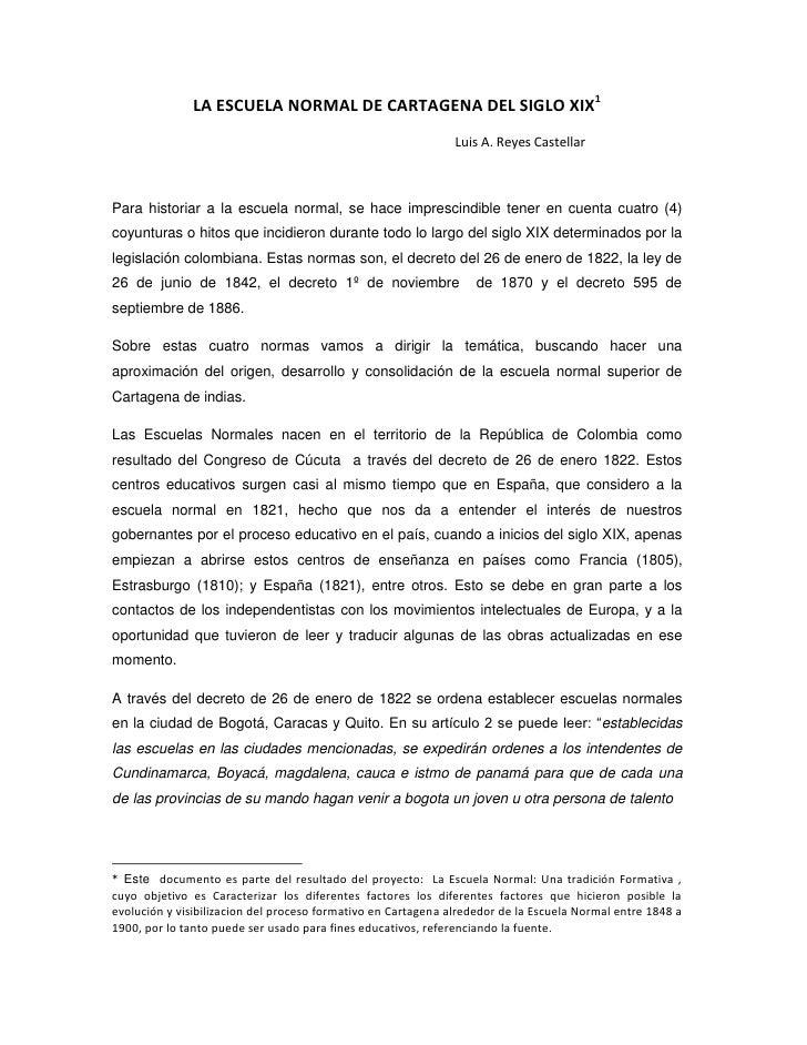 LA ESCUELA NORMAL DE CARTAGENA DEL SIGLO XIX<br />                                                                        ...
