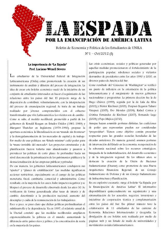 Boletín de Economía y Política de los Estudiantes de UNILA                                                                ...