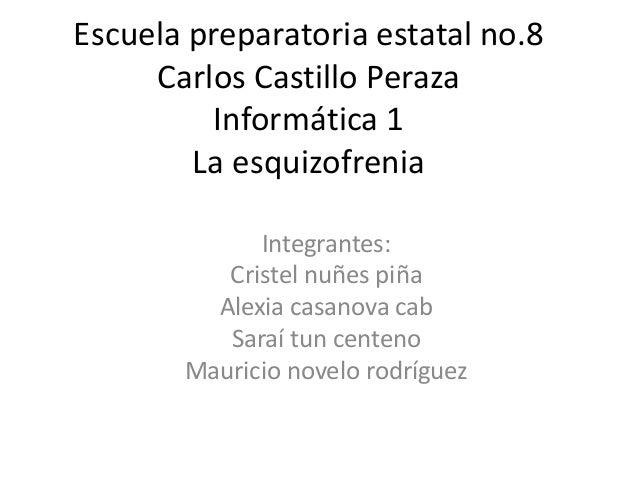Escuela preparatoria estatal no.8 Carlos Castillo Peraza Informática 1 La esquizofrenia Integrantes: Cristel nuñes piña Al...