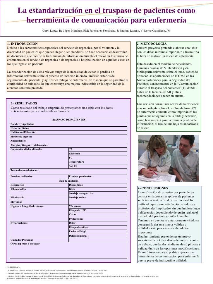 La estandarización en el traspaso de pacientes como herramienta de comunicación para enfermería