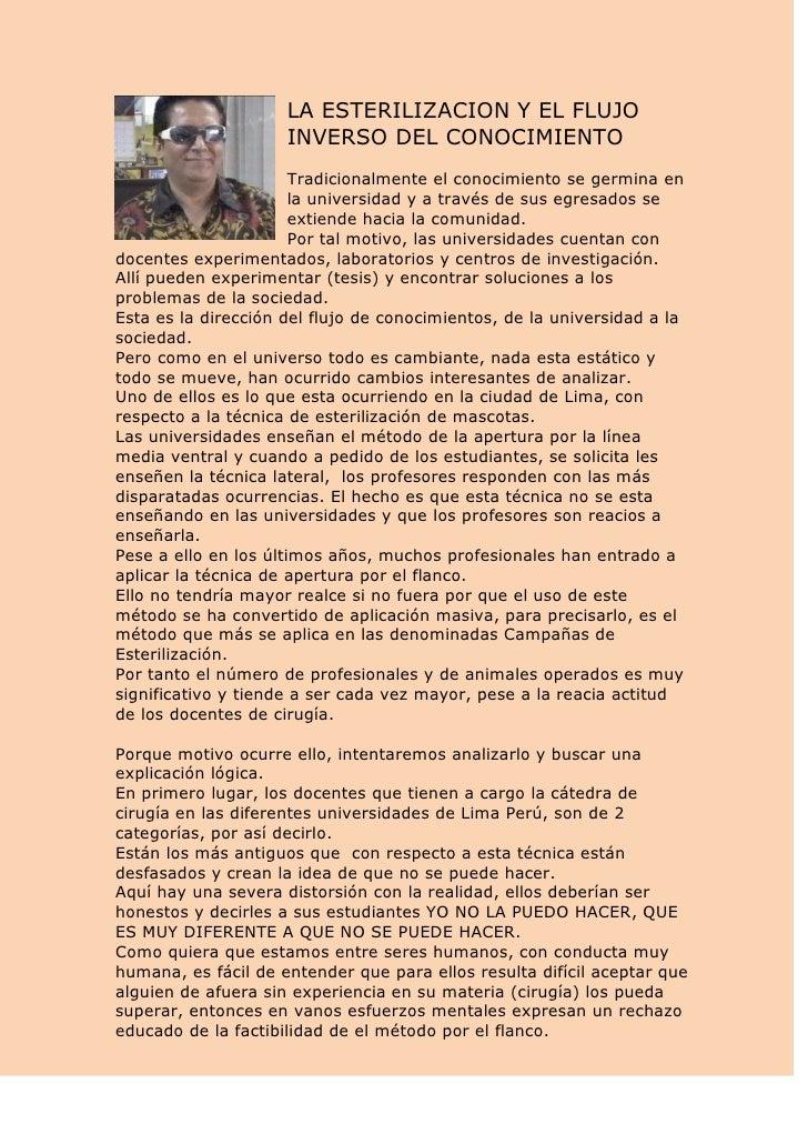 LA ESTERILIZACION Y EL FLUJO                     INVERSO DEL CONOCIMIENTO                       Tradicionalmente el conoci...