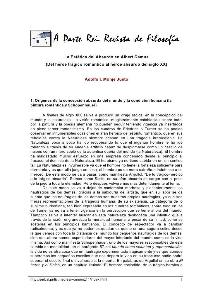 La Estética del Absurdo en Albert Camus          (Del héroe trágico romántico al héroe absurdo del siglo XX)              ...