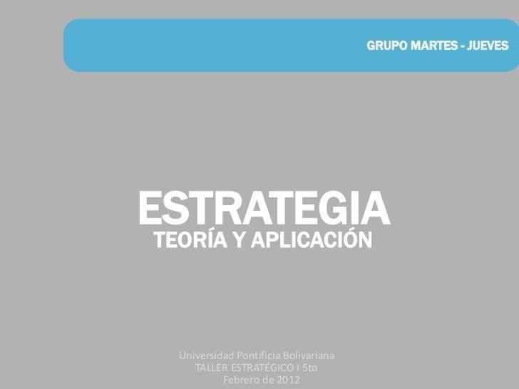 GRUPO MARTES - JUEVESESTRATEGIA TEORÍA Y APLICACIÓN   Universidad Pontificia Bolivariana      TALLER ESTRATÉGICO I 5to    ...