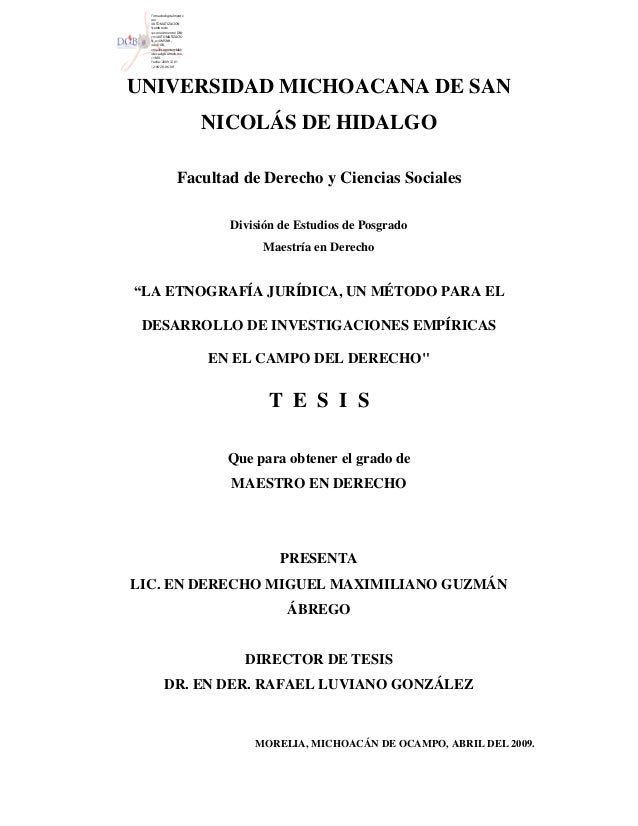 UNIVERSIDAD MICHOACANA DE SANNICOLÁS DE HIDALGOFacultad de Derecho y Ciencias SocialesDivisión de Estudios de PosgradoMaes...
