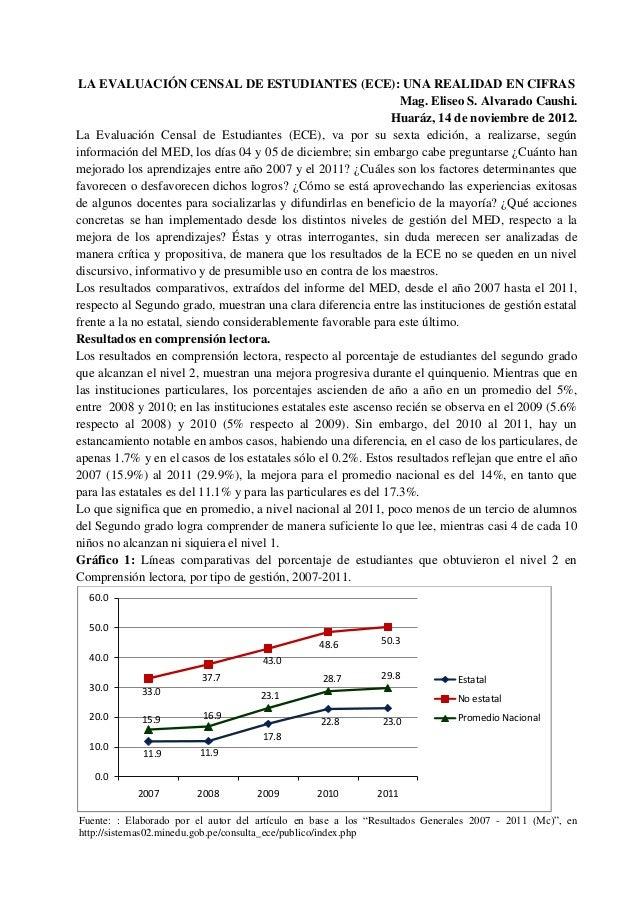 La Evaluación Censal de Estudiantes 2007-2011: Una Realidad en Cifras