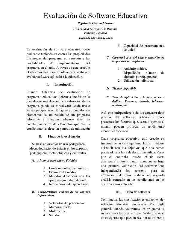 Evaluación de Software Educativo Rigoberto García Medina Universidad Nacional De Panamá Panamá, Panamá rigo231523@gmail.co...