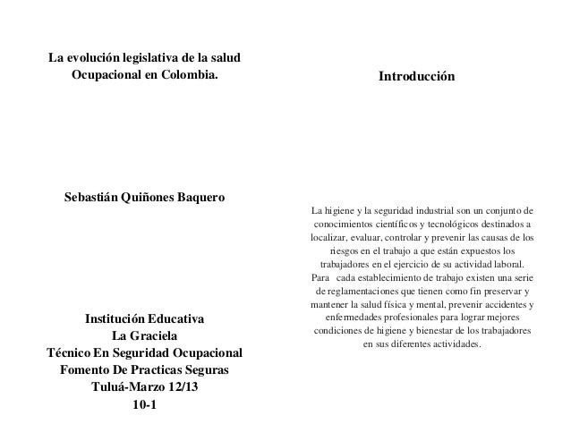 manual legislativo de la salud ocupacional en colombia