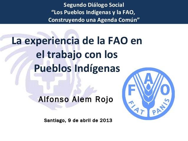 """Segundo Diálogo Social        """"Los Pueblos Indígenas y la FAO,       Construyendo una Agenda Común""""La experiencia de la FA..."""