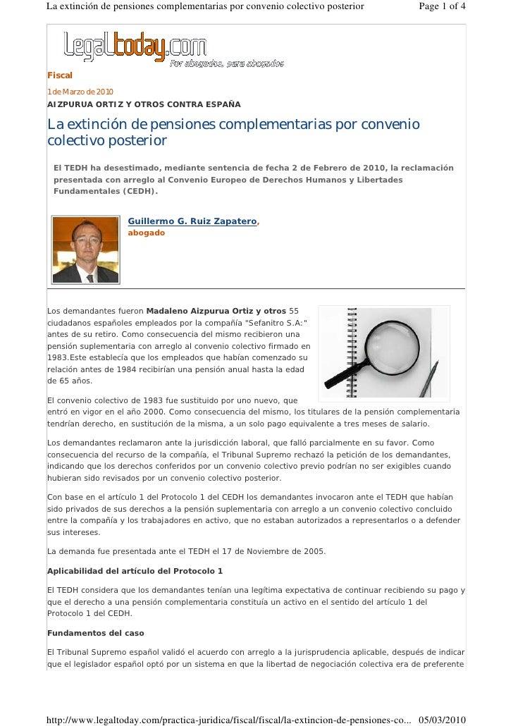 La Extincion De Pensiones Complementarias Por Convenio Colectivo Posterior Stedh 2 02 2010