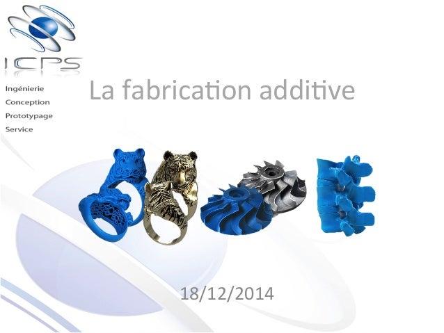La  fabrica)on  addi)ve   18/12/2014