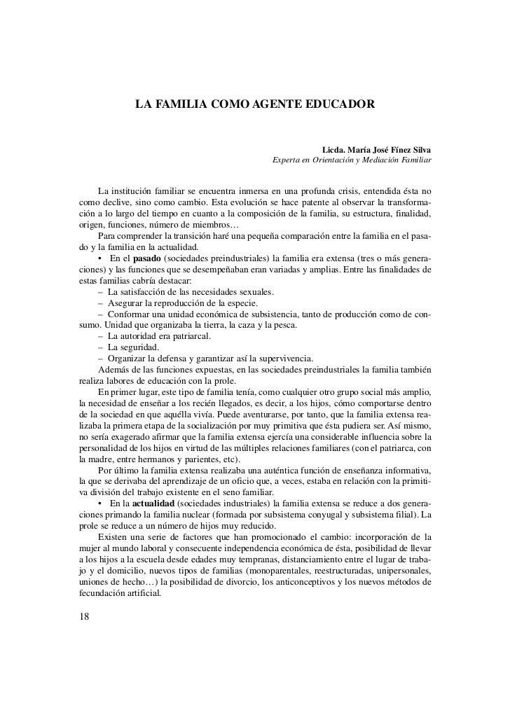 LA FAMILIA COMO AGENTE EDUCADOR                                                                  Licda. María José Fínez S...