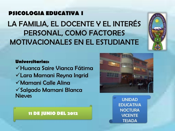 PSICOLOGIA EDUCATIVA ILA FAMILIA, EL DOCENTE Y EL INTERÉS    PERSONAL, COMO FACTORES MOTIVACIONALES EN EL ESTUDIANTE  Univ...