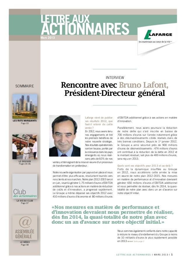 Lettre aux                      actionnaires                      Mars 2013                                               ...