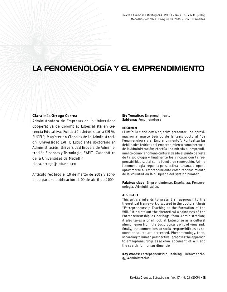La fenomenologia y el emprendimeinto