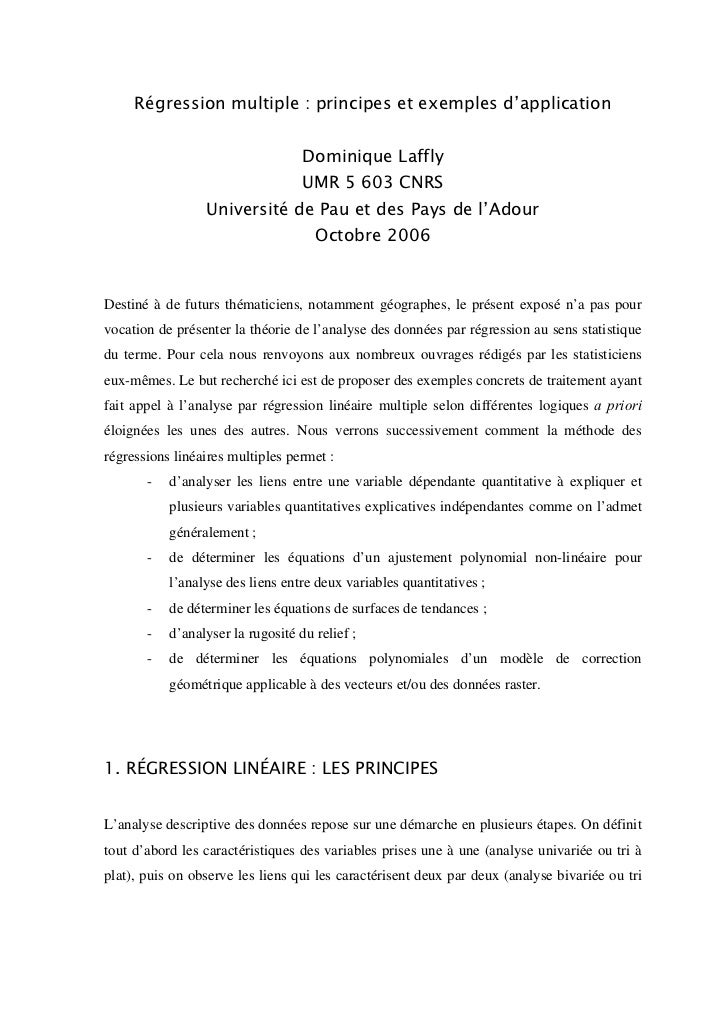 Régression multiple : principes et exemples d'application                                   Dominique Laffly              ...
