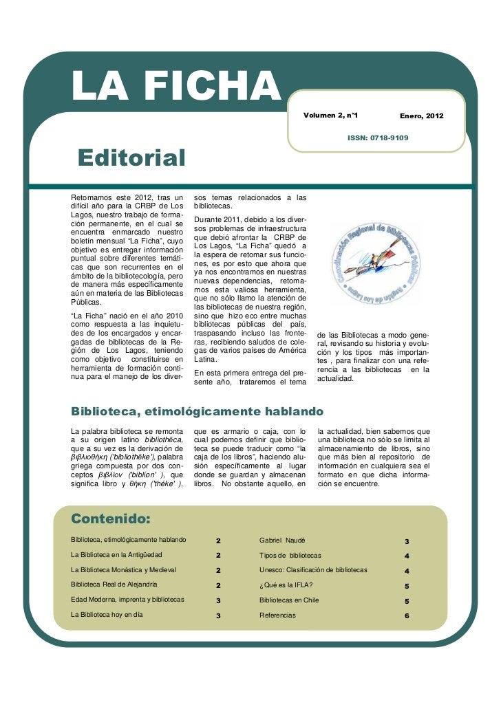 LA FICHA                                                                  Volumen 2, n°1                Enero, 2012       ...