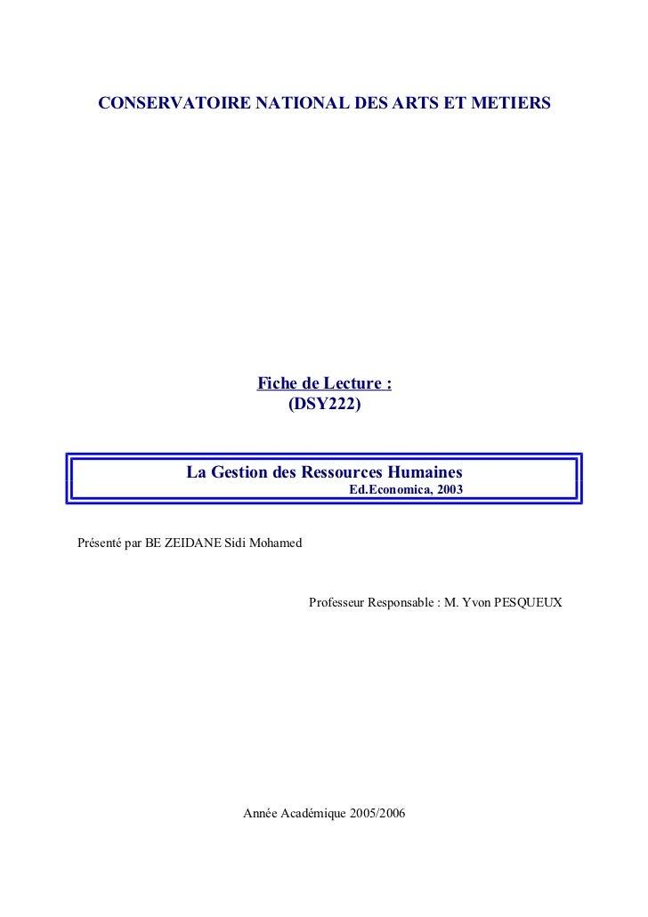 CONSERVATOIRE NATIONAL DES ARTS ET METIERS                            Fiche de Lecture :                                (D...