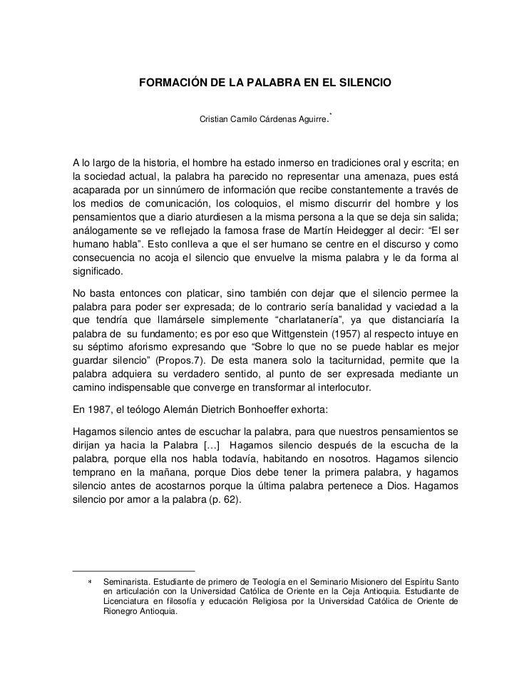FORMACIÓN DE LA PALABRA EN EL SILENCIO                                                                  *                 ...