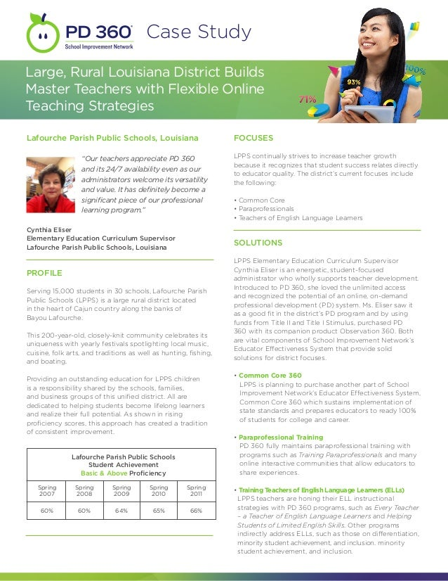 Case StudyLarge, Rural Louisiana District BuildsMaster Teachers with Flexible OnlineTeaching StrategiesLafourche Parish Pu...