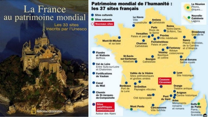 Les sites touristiques françaisrépertoriés au patrimoine mondial del'UNESCOL' United Nations Educational, Scientific and C...