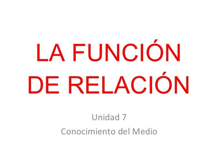 LA FUNCIÓN DE RELACIÓN Unidad 7 Conocimiento del Medio