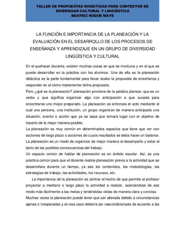 TALLER DE PROPUESTAS DIDÁCTICAS PARA CONTEXTOS DEDIVERSIDAD CULTURAL Y LINGÜÍSTICABEATRIZ ROQUE MAYELA FUNCIÓN E IMPORTANC...