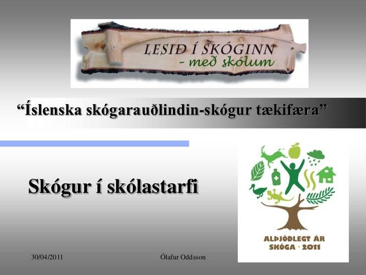"""""""Íslenska skógarauðlindin-skógur tækifæra"""" Skógur í skólastarfi 30/04/2011        Ólafur Oddsson            1"""