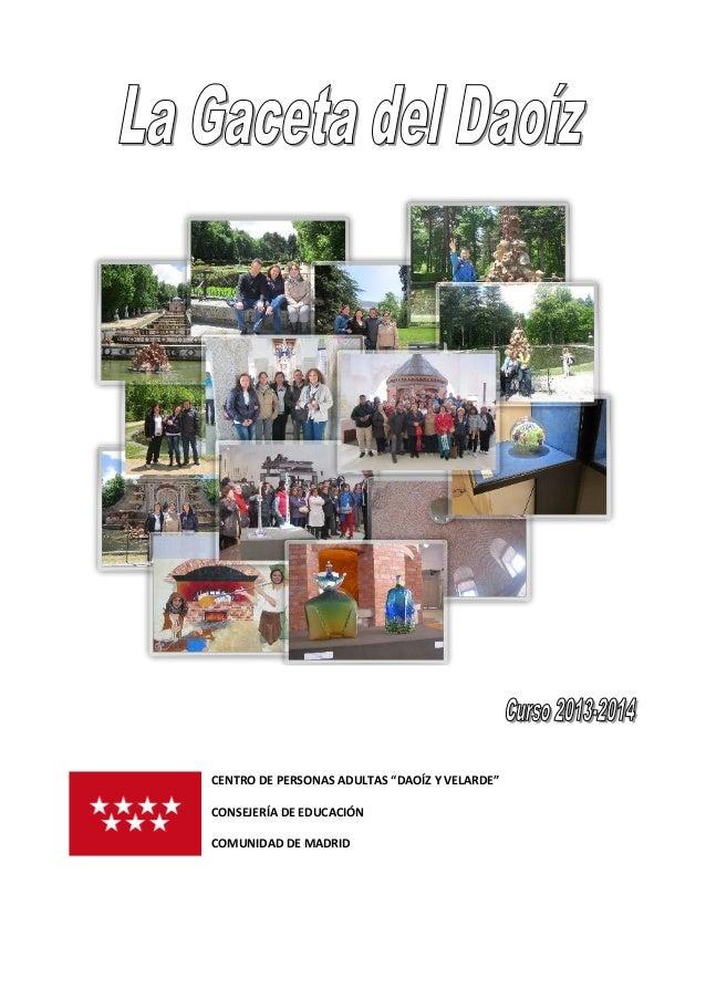"""CENTRO DE PERSONAS ADULTAS """"DAOÍZ Y VELARDE"""" CONSEJERÍA DE EDUCACIÓN COMUNIDAD DE MADRID"""