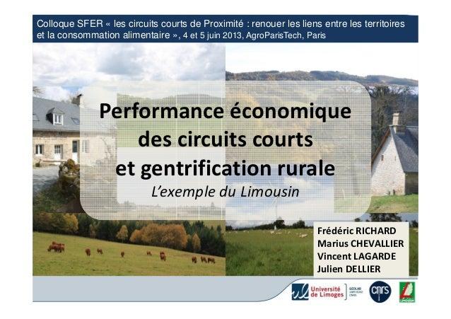 Performance économique des circuits courts et gentrification rurale. L'exemple du Limousin.