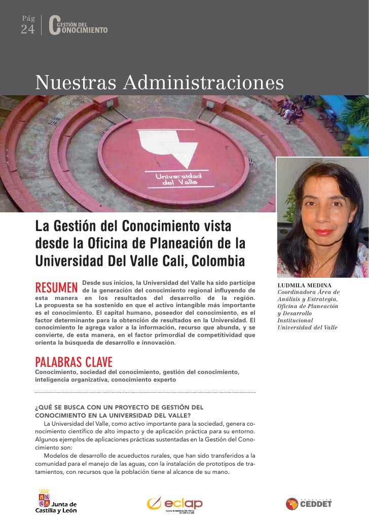 Pág24      Nuestras Administraciones      La Gestión del Conocimiento vista      desde la Oficina de Planeación de la     ...