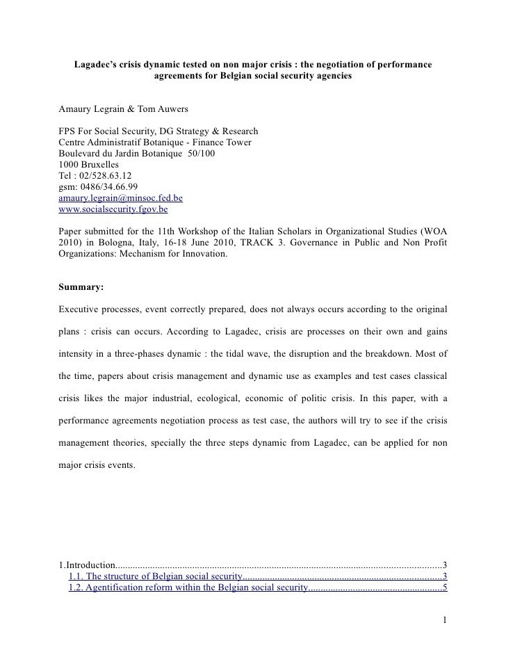 Lagadec's crisis dynamic tested on non major crisis : the negotiation of performance agreements for Belgian social securit...