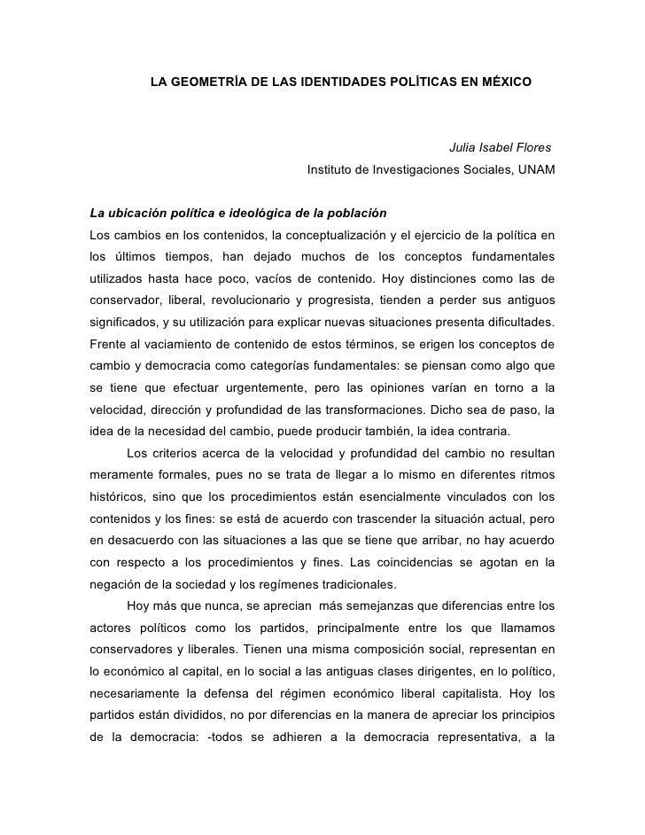 LA GEOMETRÍA DE LAS IDENTIDADES POLÍTICAS EN MÉXICO                                                                       ...