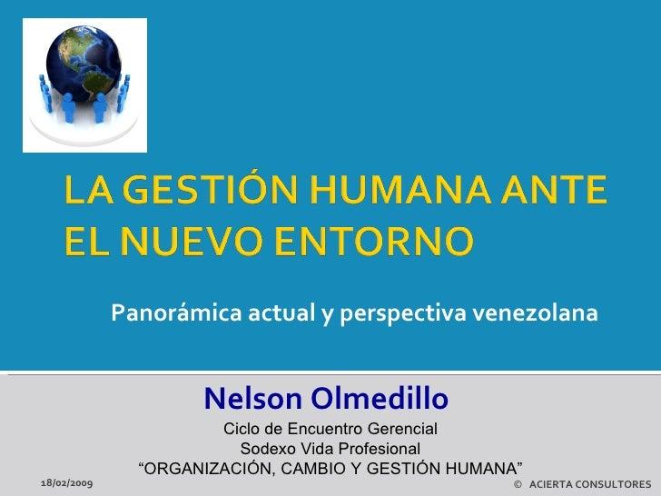 Panorámica actual y perspectiva venezolana  18/02/2009 ©   ACIERTA CONSULTORES Nelson Olmedillo Ciclo de Encuentro Gerenci...