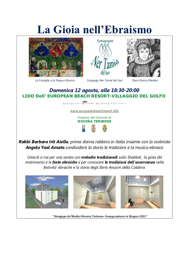 La Gioia nell'Ebraismo         La Famiglia e la Pasqua Ebraica         Sinagoga Ner Tamid del Sud   Dona Gracia Mendes    ...